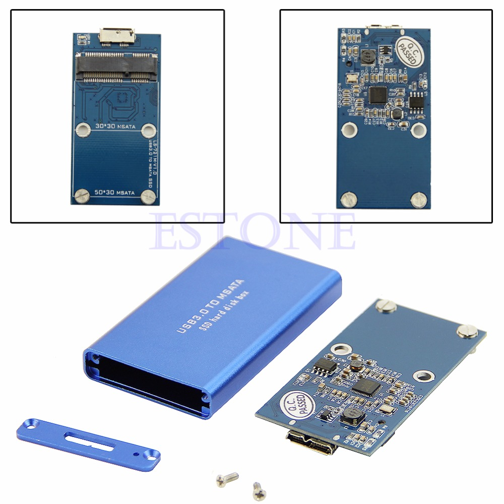 P Mini USB 3.0 à mSATA SSD Adaptateur Carte Boîtier Externe Couverture Boîte AU Nouveau