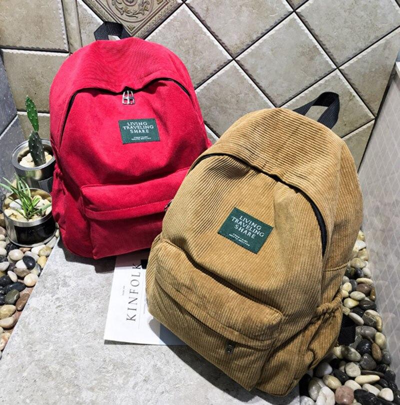 Big University Bags Student Teenagers Girls Travel Bagpack High School Corduroy Backpack Sack With Pocket Bag Pack For Women