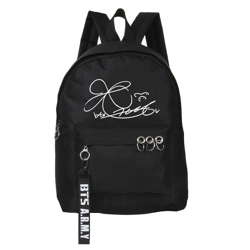 Sporting New Kpop Bt21 Bangtan Boys Bts Jung Kook V Jimin Art Signature Canvas Bag Fashion Women Girl Cosmetic Bag School Backpack Women's Clothing