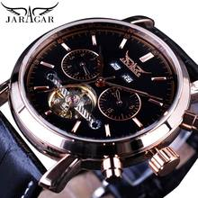Jaragar Rose Gold Automatic Mechanical Watch Men Tourbillion Male Watches Calendar Display Sub Dial Genuine Leather Montre Homme все цены