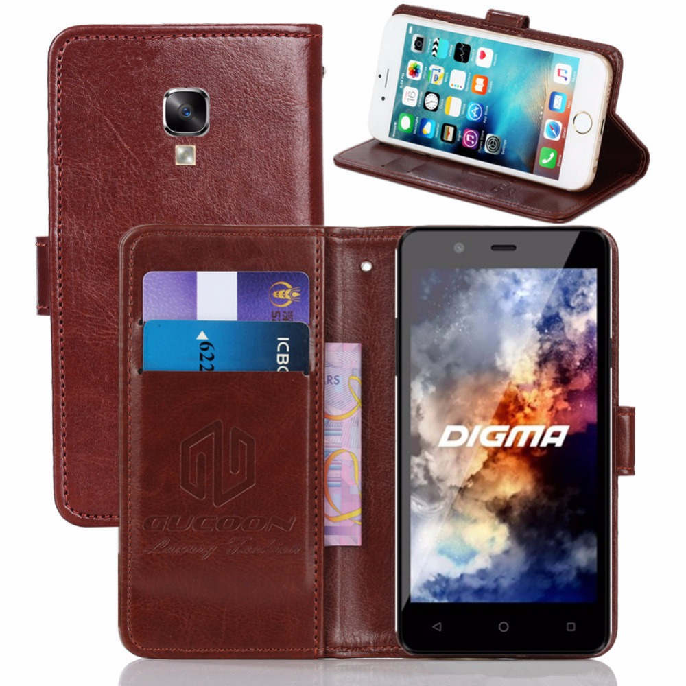 GUCOON Vintage Wallet Case for Digma <font><b>Linx</b></font> <font><b>A501</b></font> 4G 5.0inch PU Leather Retro Flip Cover Magnetic Fashion Cases Kickstand Strap image