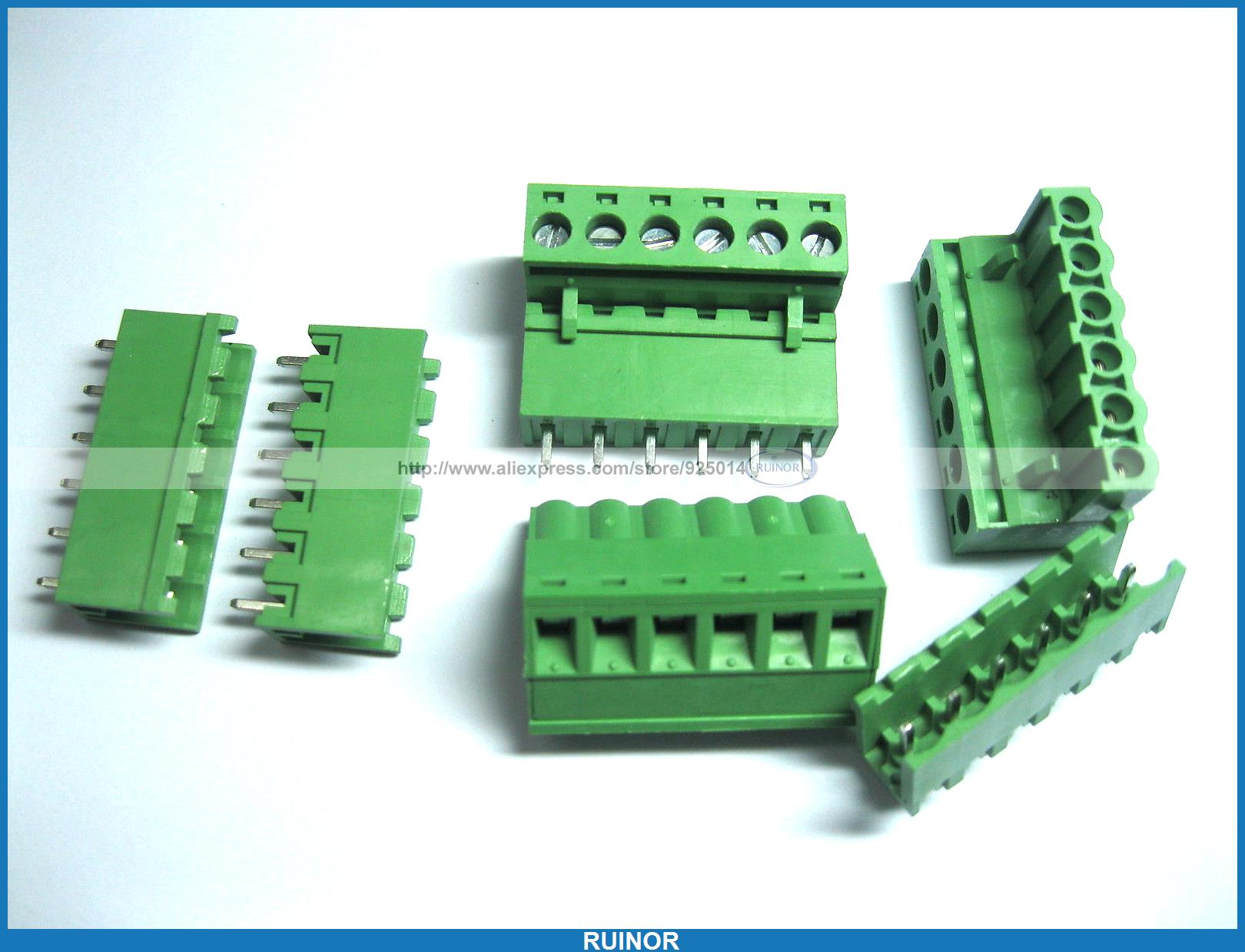 100 Pcs Green 6 Pin 5 08mm Screw Terminal Block Connector Pluggable Type 30 pcs 5 08mm angle 16 pin screw terminal block connector pluggable type green