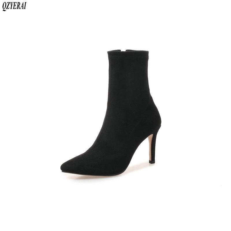 QZYERAI nouvelles bottes chaussettes automne hiver en peau de mouton 100% cuir femmes bottes à talons hauts femmes bottes en cuir femmes chaussures