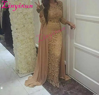 2018 Champagne Dubai Arabia Long Sleeves Straight Evening Dresses With Detachable Train Beaded Crystal Full Lace Prom Dresses