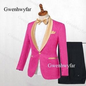 Image 5 - Gwenhwyfar Chaqueta de solapa dorada para hombre, esmoquin negro, trajes de 2 piezas, traje de Jacquard, esmoquin, para trajes de hombre para bodas (chaqueta + pantalones), 2019