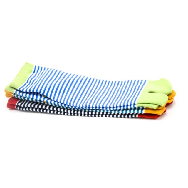 1 Pair Women's Striped Cotton Toe Socks 1