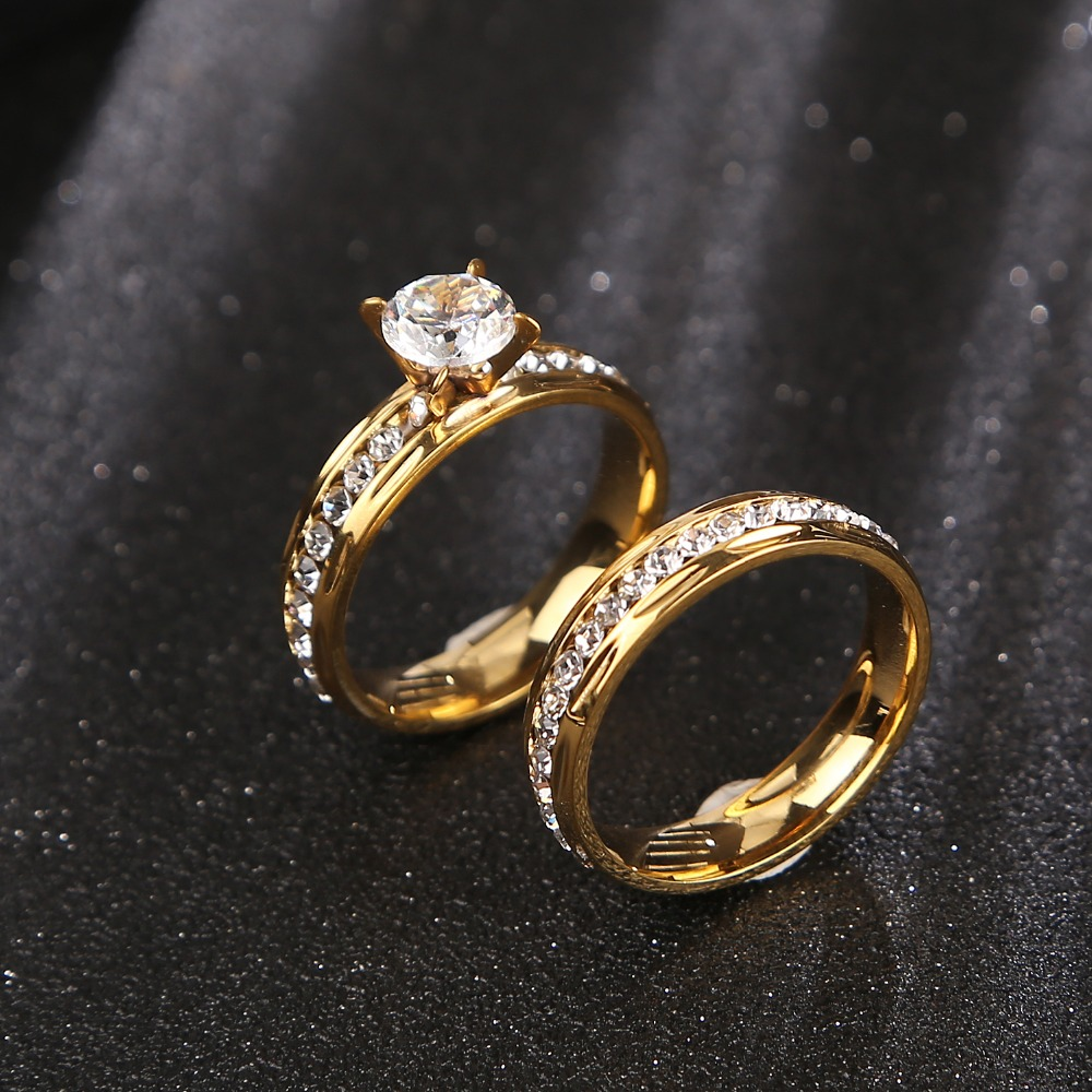 Gold wedding rings Stainless Steel Engagement Ring for Women with CZ 1