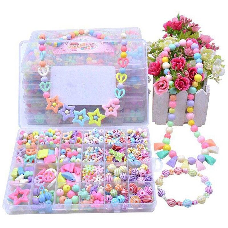 Diy Beads Toys For Children Handmade Necklaces Bracelets Jewelry Making Beads Kit Set Girl Educational Toys Hacer Pulseras Nina