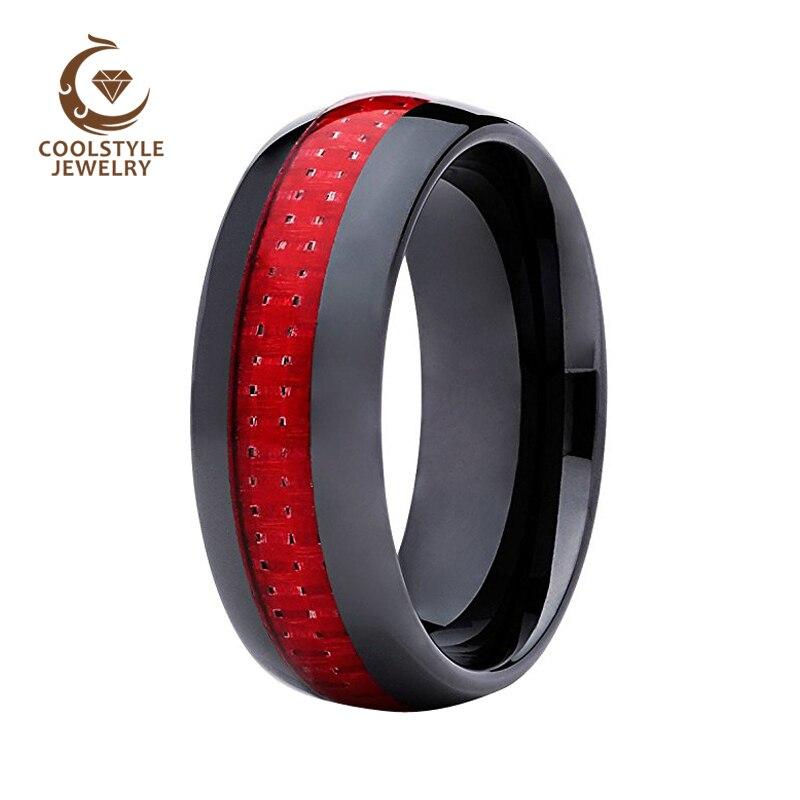 8 MM Dôme Hommes de Noir En Céramique Anneau Wedding Band Avec Rouge Incrustation De Fiber De Carbone Taille 5-15