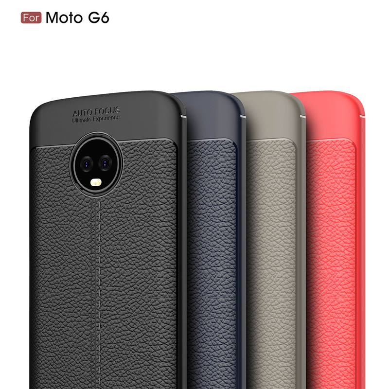 sFor Motorola Moto G6 Case Silicone Luxury Litchi Texture PU Leather Phone Cases For Motorola Moto G6 Soft TPU Back Cover Case