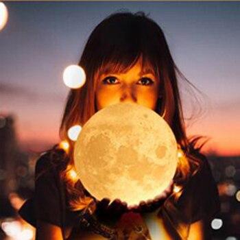цена Rechargeable 3D Print Moon Lamp Moon Light Night Light for Children Home Bedroom Led Color Change Night Lamp Creative Gifts онлайн в 2017 году