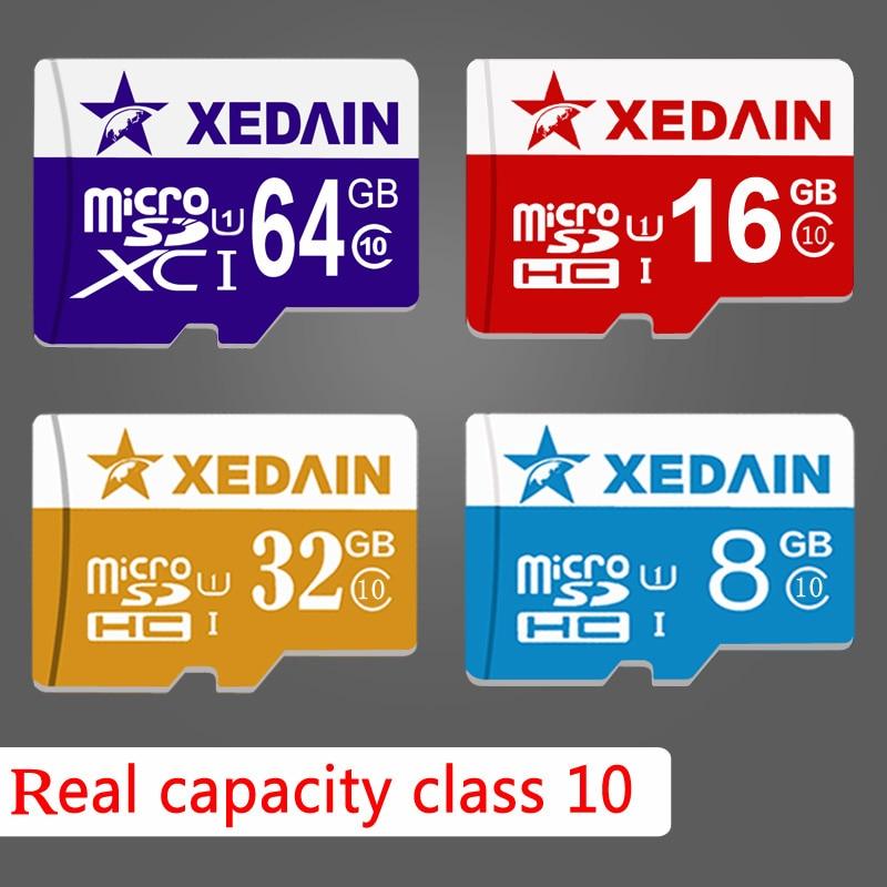 Real Capacity Micro SD Card 16GB 32GB 64GB Class10 XEDAIN Brand Memory Card Mini TF Card For Tablet Camera Pad Phones High Speed xedain memory cards micro sd tf card good 16gb 32gb 64gb class10 speed mini fast flash card for phone tablet surveillance logger