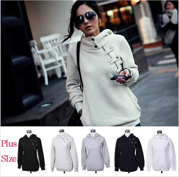 2014 hot  large zipper Hoodie Sweatshirt women fleece size S-XL 3colors