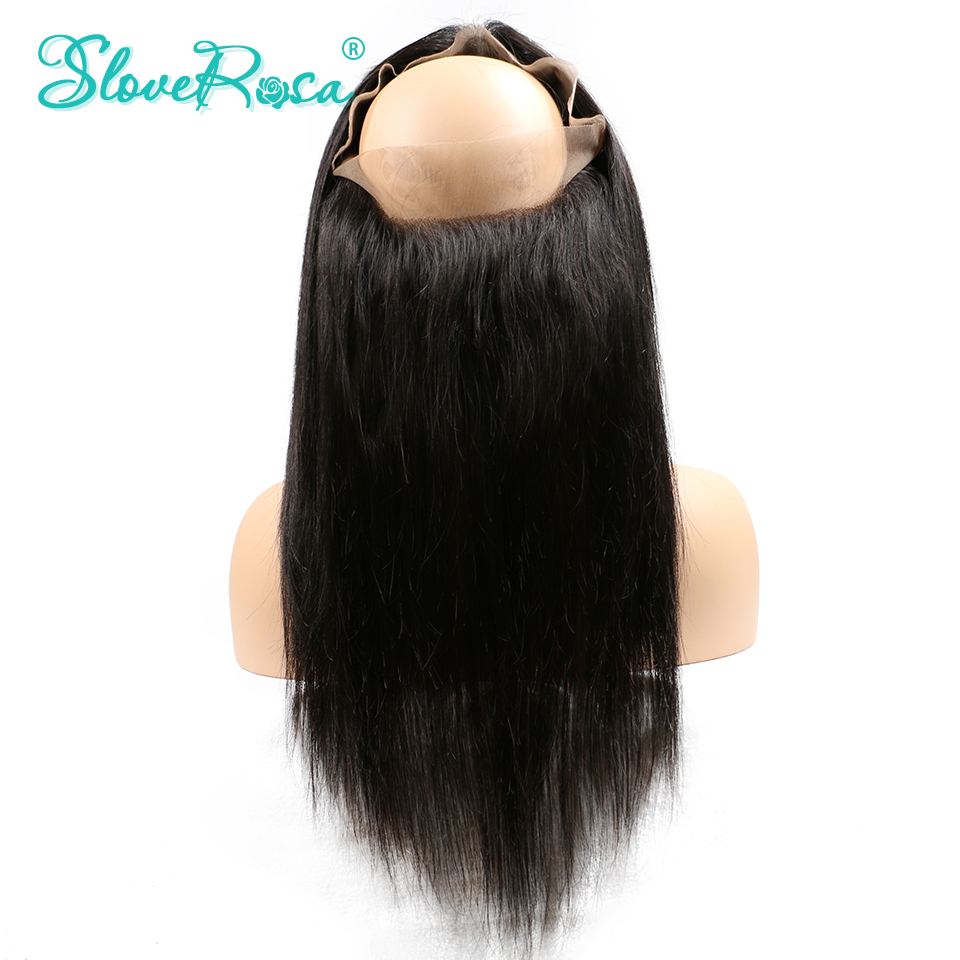 360 Lace Frontal Closure Straight Peruvian Remy Human Hair Pre Plucked Natural Hairline With Baby Hair