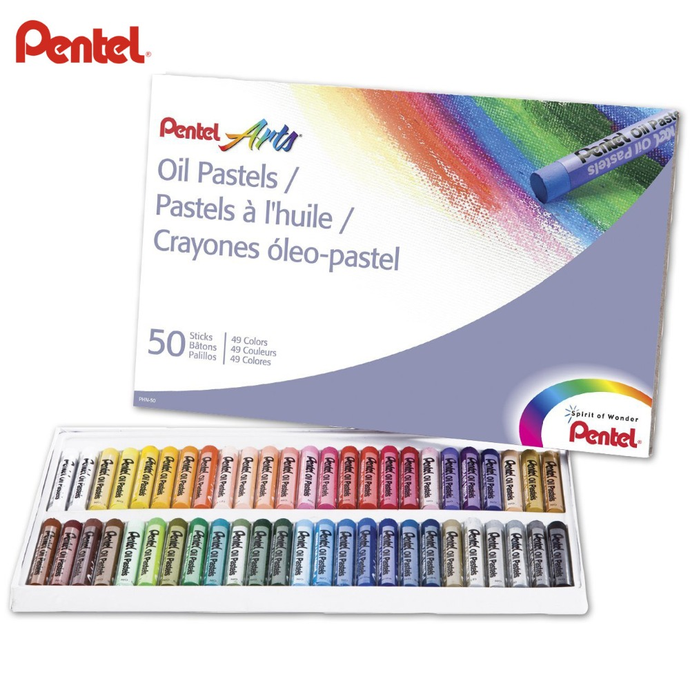Pentel Arts Oil Pastels Artist 50 Assorted Color Set (PHN-50) Non Toxic, Smooth Blending Texture, Ideal For All Artist Levels