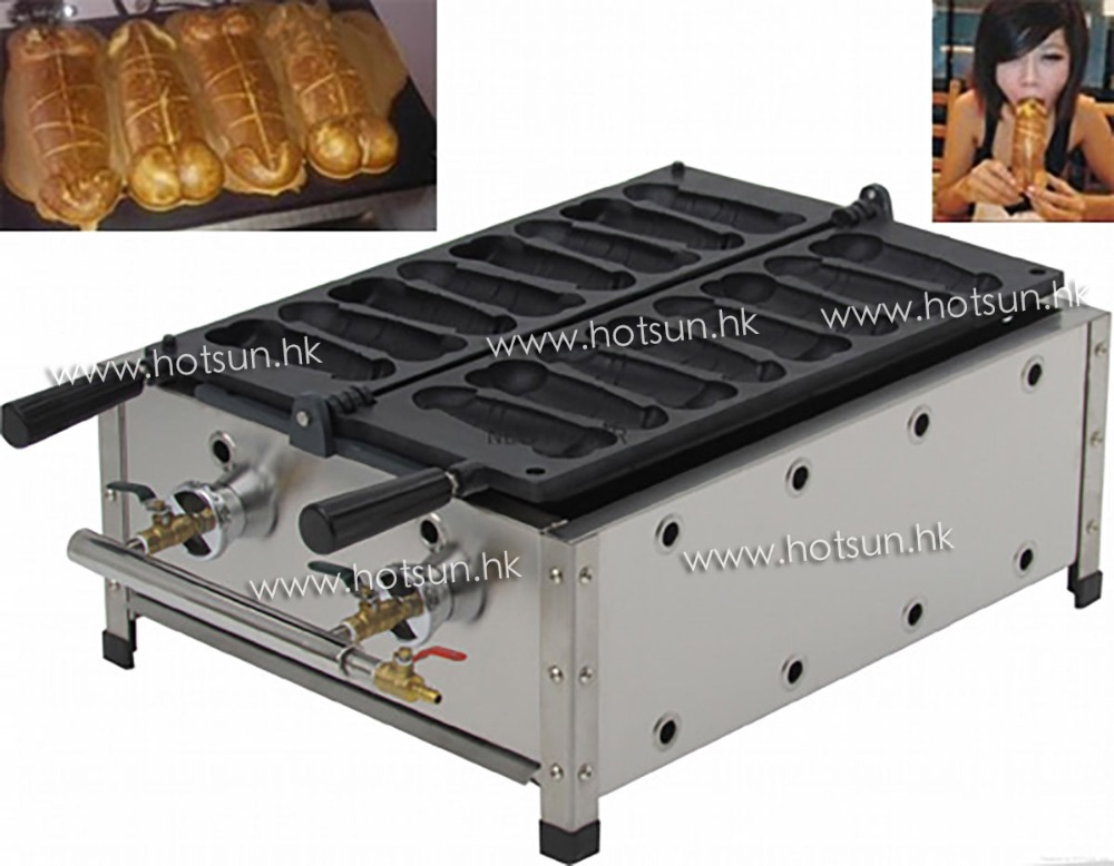 8pcs Commercial Use LPG Gas Sausage Hotdog Penis Waffle Maker Iron Machine Baker
