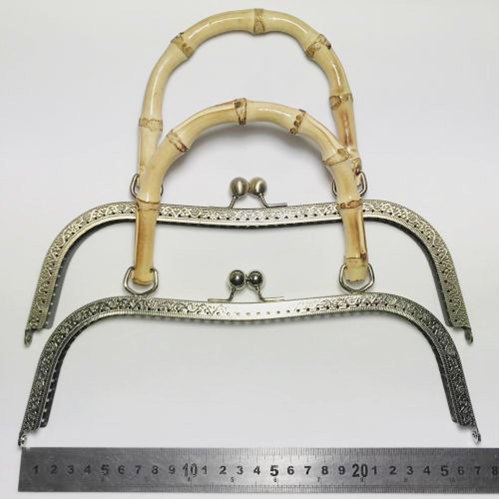 27cm Big Size Women DIY Handbag Metal Clasp With Bamboo Handle Female Purse Frame With Kiss Buckle Knurling Edge 2pcs/lot