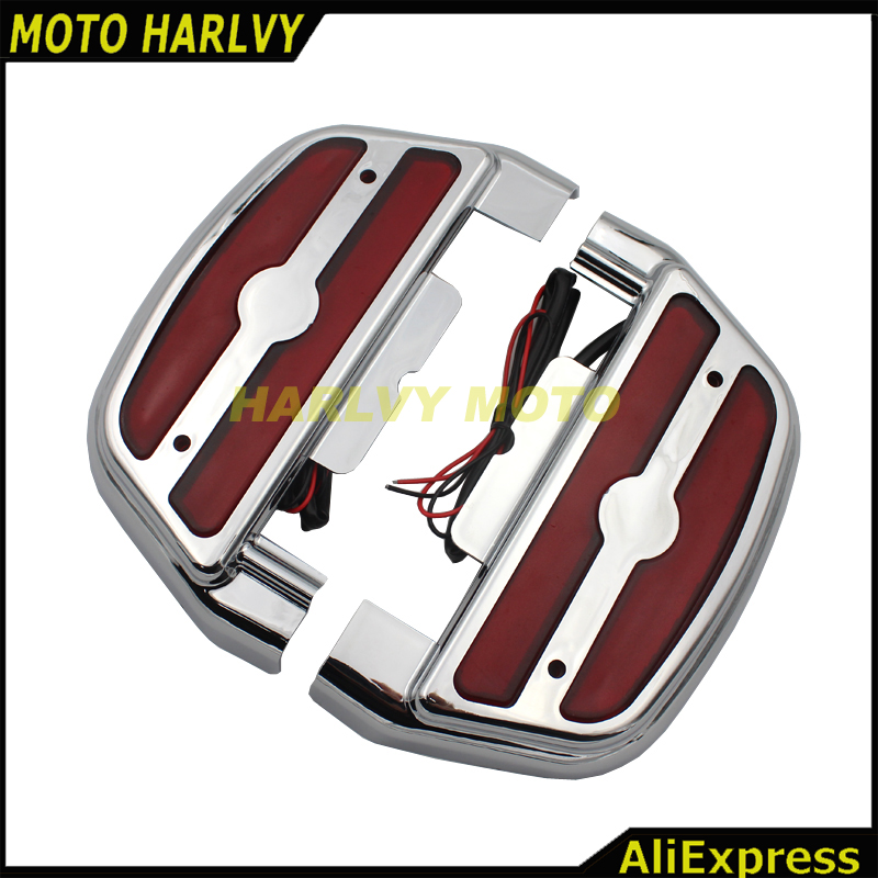 Chrome Led Red Light Passenger Footrest Floorboard Cover Kit For Harley Touring Trike Softail