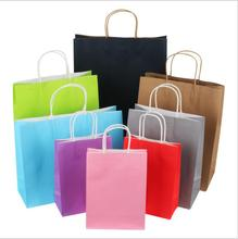20PCS Soft Color Paper Bag with Handles Festival Party Gift High Quality Shopping Bags Kraft