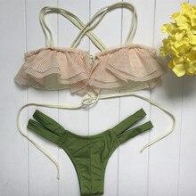 Bandage Top Low Waist Push Up Brazilian Suit