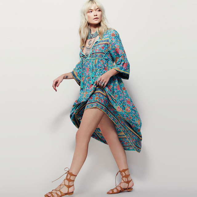 Boho People Plus Size Bohemia Maxi Dress 2018 New Arrival V Neck