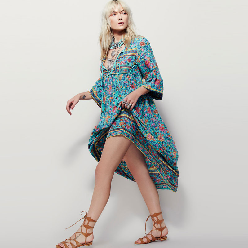 BOHO PEOPLE Plus Size Bohemia Maxi Dress 2018 New Arrival V Neck Botanic Floral Dress Ethnic Gypsy Style Hippie Vestido Women XL