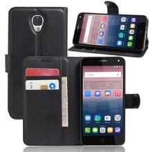 Novo 2016 para o caso de alcatel one touch pop 4 cover, moda de luxo filp couro lichia wallet suporte do telefone celular para a alcatel pop 4
