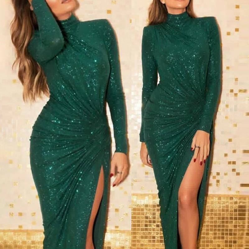 Glitter Ruched Thigh Slit Maxi Dress Women Long Sleeve Bodycon Party Dress  Elegant Turtleneck Twisted Long Dress Vestidos 2019-in Dresses from Women s  ... 98fdde7517a2