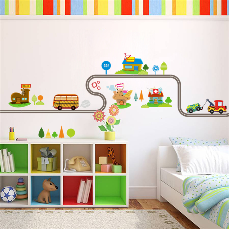 Cartoon Cars Highway Track Wall Stickers For Kids Rooms Sticker