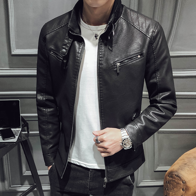 Men Leather Jacket 2019 New Men's Fashion All-in-one PU Leather Garment Slimming Warm Fleece Zipper Front Leather Garment