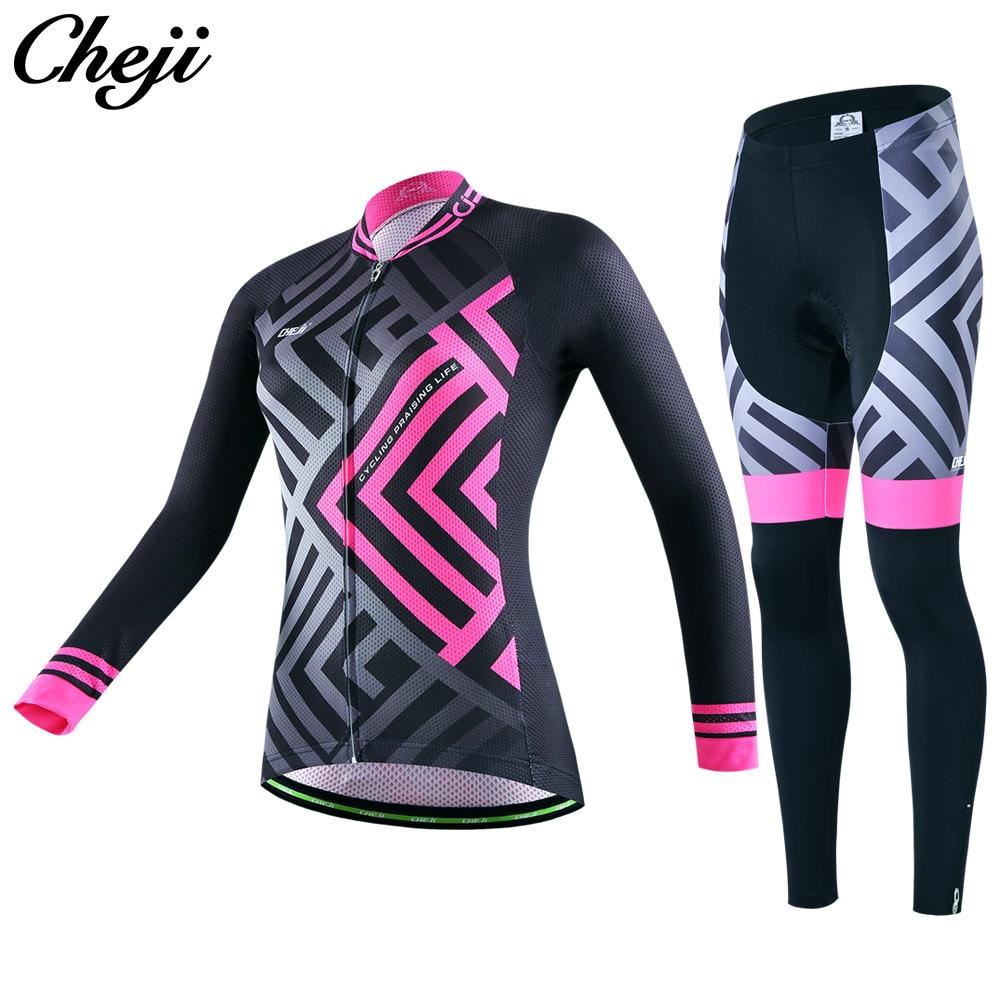2017 Spring Cycling Jersey Women Cheji Pro Bike Jersey Set Slim Cycling Uniforms Long Sleeves High Quality Cycling Clothes China cheji jersey shorts