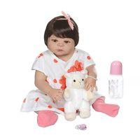 22in Реалистичная кукла-Пупс мягкая полностью силиконовая виниловая новорожденная милая девочка Реалистичная игрушка ручной работы для дет...