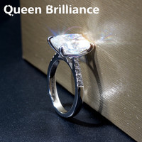 Queen Brilliance 5ct F Color Cushion Cut Lab Grown Moissanite Engagement Ring Wedding Ring Genuine 14K