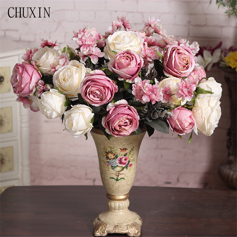 Simulation Flower European 13 Heads Rose Tea Fake Flower Bouquet Wedding Background Living Room Garden Home Table Decoration Artificial Decorations