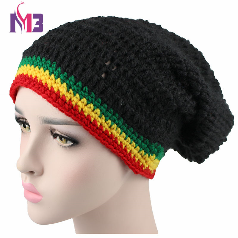 3565b8f60c9bd Fashion Unisex Rasta Hat Winter Warm Handmade Knitted Crochet Hats Jamaican  Beanie Caps Hip Hop Cap Bob Marley Rasta Reggae Hats