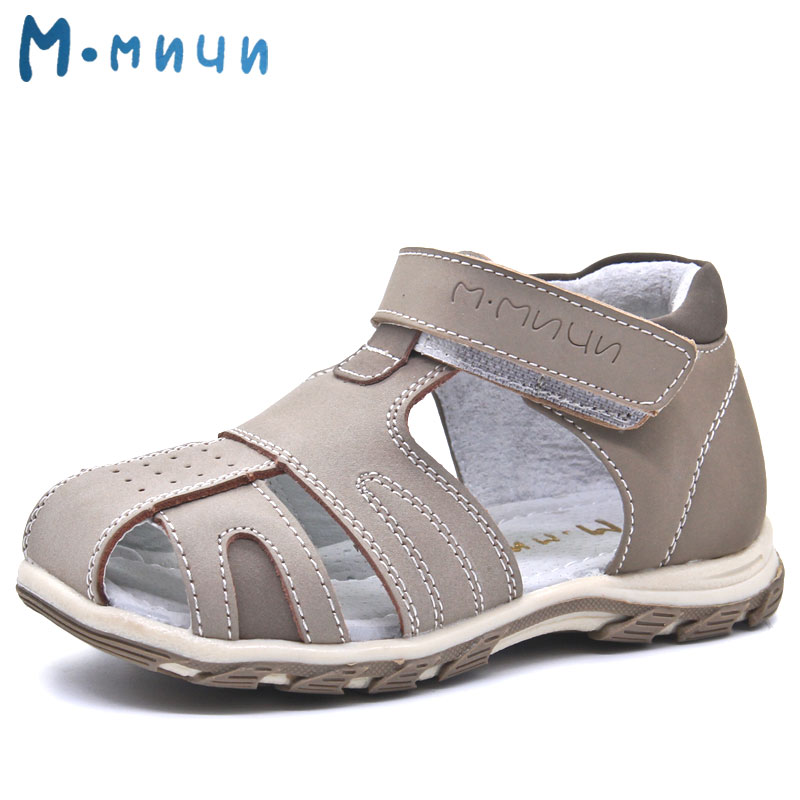 Mmnun 2017 New Summer Beach Kids Shoes Breathable Soft Genuine Leather Closed Toe Sandals for Boys Toddler Sandals Size 26-31