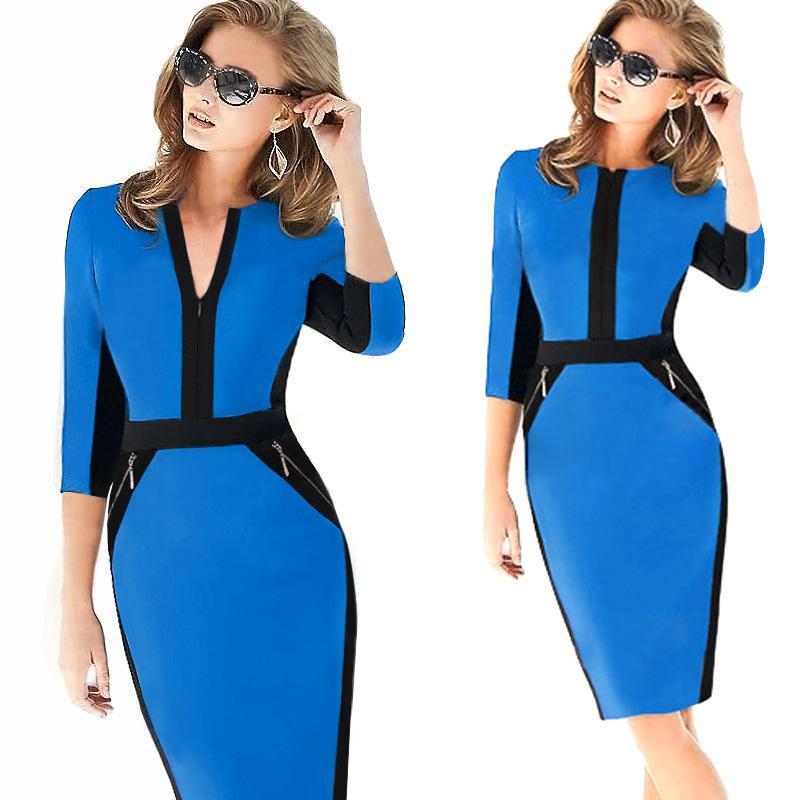 879d65c631 IRicheraf Kobiety Biuro Sukienka Firm Bodycon Ołówek Wrap Suknie kolan  Kariera Elegancki Połowa Rękawem O-neck Vestidos Femme