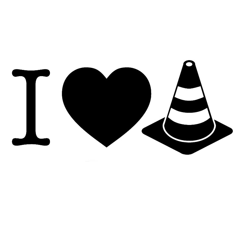 17.8CM*7.6CM I Love Cones - Vinyl Decals Race Heart Autocross Track Drift Funny Car Stickers Decoration Black/Sliver C8-1420