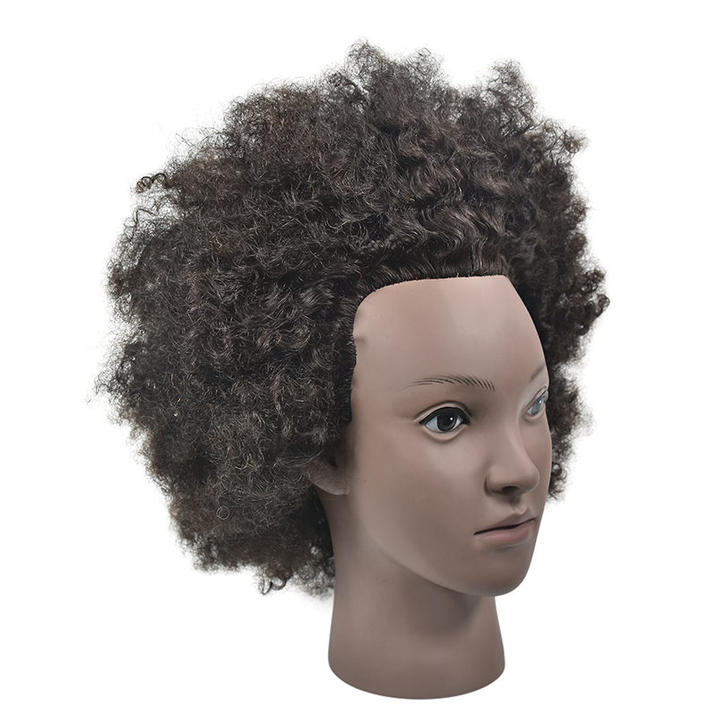 Free Shipping Africa Male Hman Hair Training Mannequin Head For Hairdressers Professional Styling Mannequin Doll Head With Hair