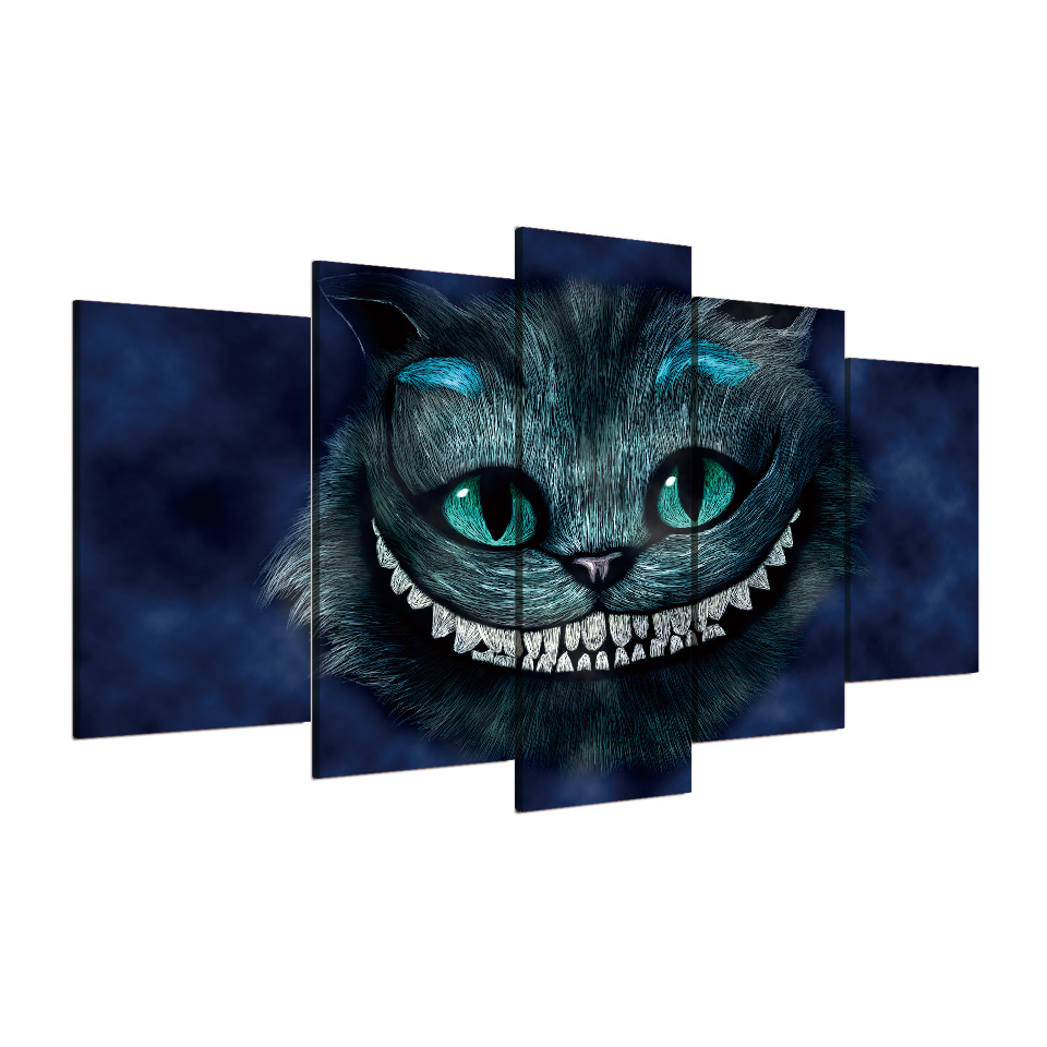 5 Panel Framed Cat of Alice Wonderland HD Printed Wall Picture For ...
