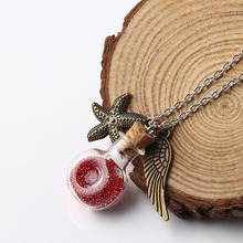 Personalized Charming Fashion Fine jewelry Glass Bottle Alloy Feather Starfish Pendant Necklace for Women Girl as