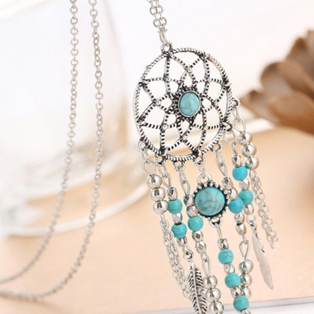 Beiver Dreamcatcher Necklace Long Chain Sweater Blue Beads Bohemia Tassels Wedding Necklace Jewelry
