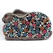 Geschenkbox Fashion Damen Kupplungen Voller Kristall Blau Abendtaschen Frauen Hochzeit Kaninchen Brauthandtasche Diamant Kupplung Geldbörse Q23