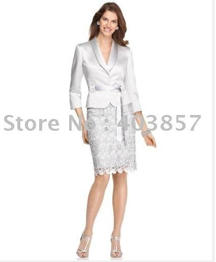 Women Suit Shantung Jacket & Skirt  Shawl Collar  Shantung Belt 623