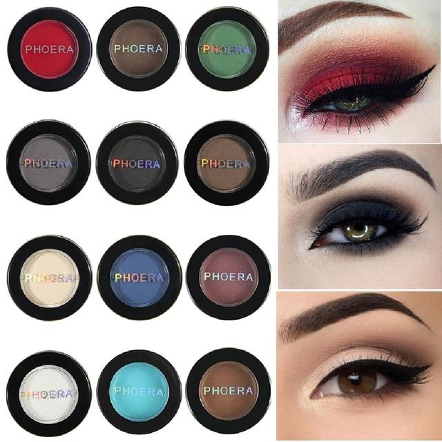 PHOERA 12 colores mate sombra de ojos polvo pigmento desnudo larga duración brillante sombra de ojos maquillaje resistente al agua para invierno TSLM1