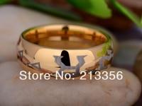 Free Shipping UK Russia Brazil USA Hot Selling 8MM Golden DomeStargate Gate Address Men's Fashion Tungsten Carbide Wedding Ring