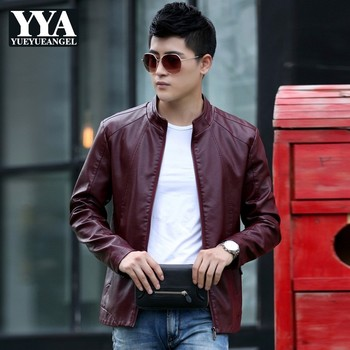 Korean Fashion Zipper Stand Collar autumn Winter Faux Leather Jacket Mens Slim PU Leather Coat Casual Clothes for Men Outerwear