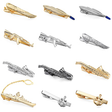DY new high quality stainless steel  business suit men tie clip fashion style gold silver Superman golf Sax anchor tie clip stylish boat anchor shape tie clip
