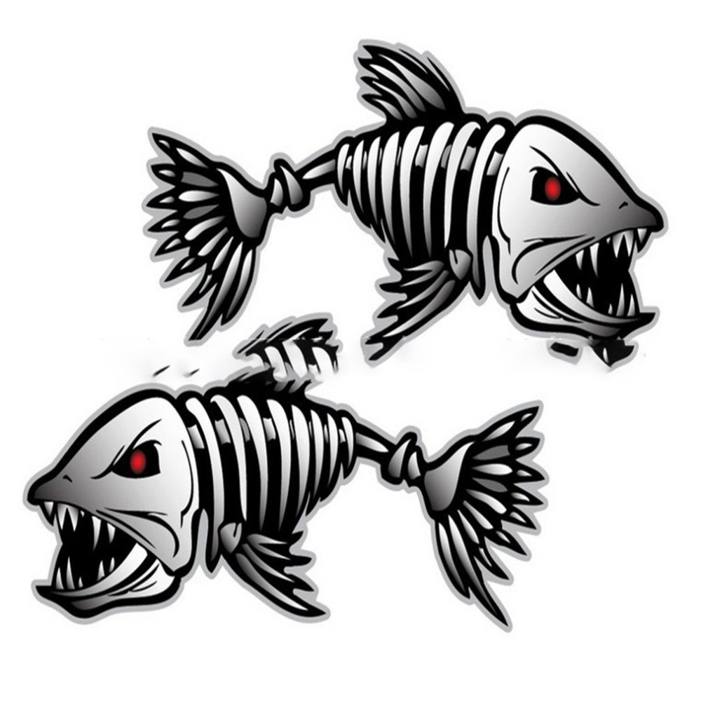 2Pcs Skeleton Fish Bones R&L Vinyl Decals Stickers Kayak Fishing Boat Car (C022) title=