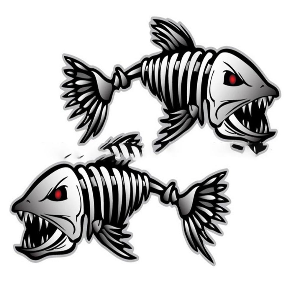 2Pcs Skeleton Fish Bones R&L Vinyl Decals Stickers Kayak Fishing Boat Car (C022)